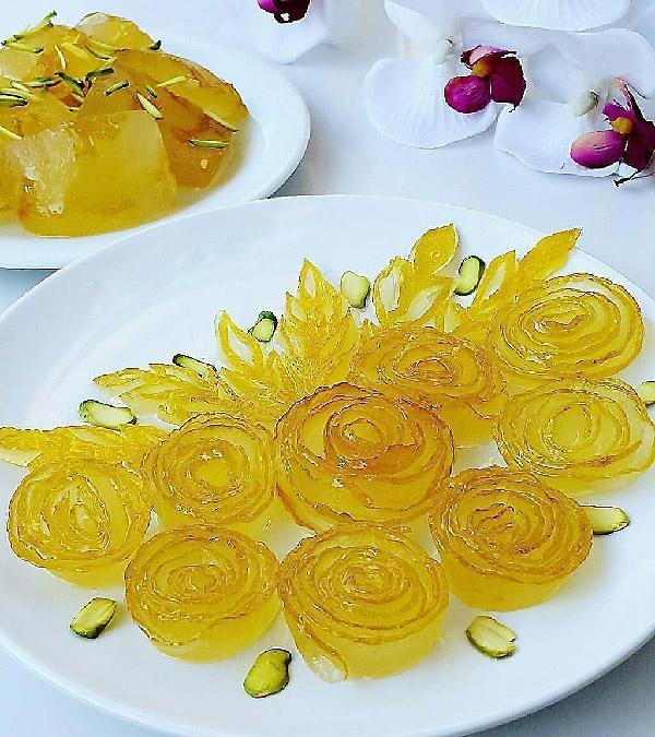 طرز تهیه مربای بالنگ بدون تلخی، به شکل گل رز